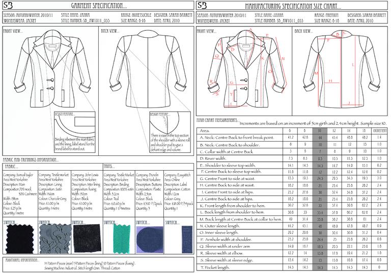 garment specification sheet template