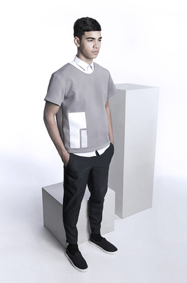 Look 2: Boxy neoprene t-shirt and stretch wool slim fit smart joggers with pocket zip details
